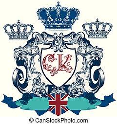 Heraldic elegant shiled or crest in classic vintage...