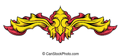 Abstract editable vector design as scroll or heraldic element