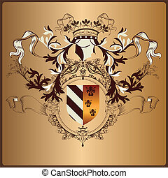 Heraldic element with armor, banner