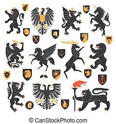 heraldic, elementos, animais