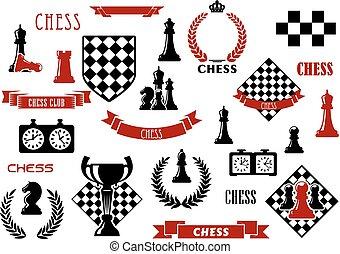 heraldic, elementos, desenho, jogo, xadrez