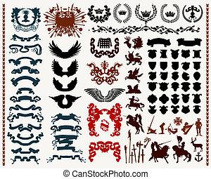 heraldic, elementos, desenho