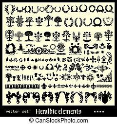 heraldic, elementos, floral, cobrança