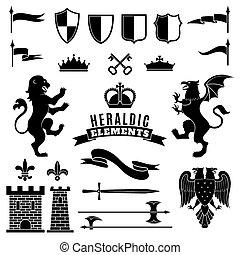 Heraldic Elements Black White Set - Heraldic elements black...