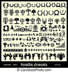 heraldic elements floral collection isolated on light ...