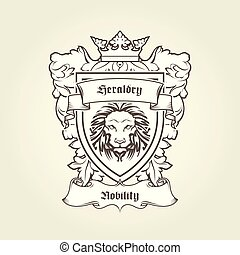 Heraldic emblem - coat of arms with head of lion on shield with crown