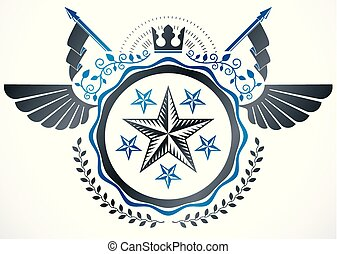 Heraldic emblem isolated vector illustration.