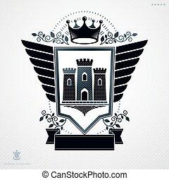 Heraldic emblem isolated vector illustration.