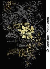 heraldic, emblema, com, flores