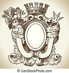 heraldic, emblema, ornate
