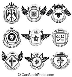 Heraldic emblems isolated vector illustrations. Collection of symbols in vintage style.