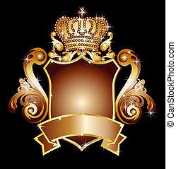 heraldic, escudo, com, em branco, bandeira