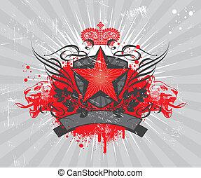 heraldic, estrela, composição, vermelho