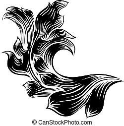 Heraldic Floral Filigree Pattern Scroll Design