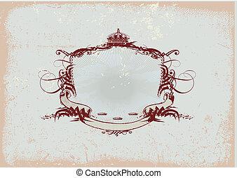 heraldic frame - An heraldic titling frame or badge, blank...