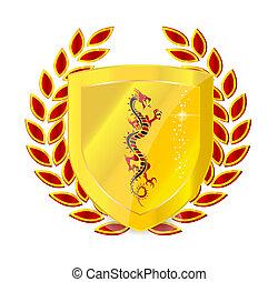heraldic gold emblem sign isolated