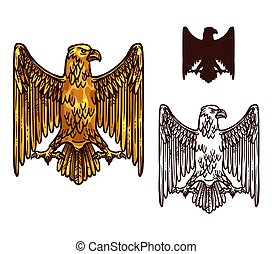 Heraldic golden gothic eagle, vector - Gothic eagle sketch...