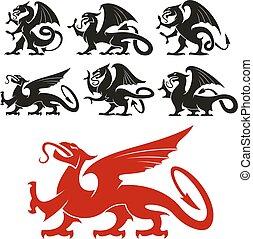 heraldic, griffin, e, mítico, dragão, silhuetas