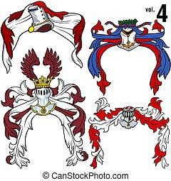 Heraldic Helmets vol.4 - Coloured illustration.