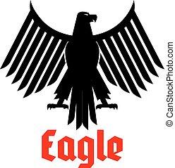 Heraldic icon of black eagle vector sign