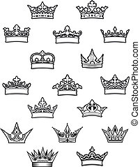 Heraldic king and queen crowns set for design