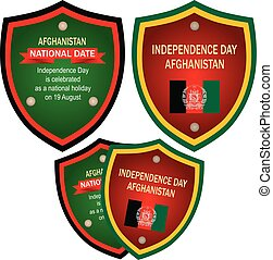 Heraldic label to date for august event Independence Day Afghanistan