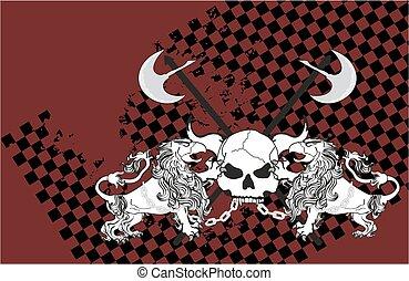 heraldic, leão, águia, gryphon, e, cranio, brasão,...