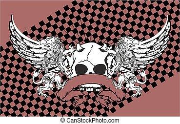 heraldic, leão, águia, gryphon, e, cranio, brasão, cartão