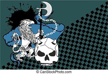 heraldic, leão, águia, gryphon, e, cranio, brasão, fundo