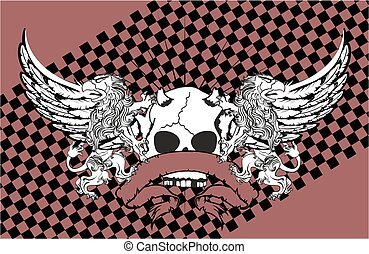 heraldic lion eagle gryphon and skull coat of arms card