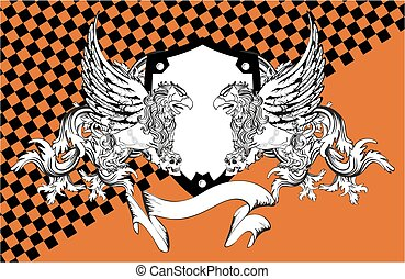 heraldic lion eagle gryphon coat of arms background