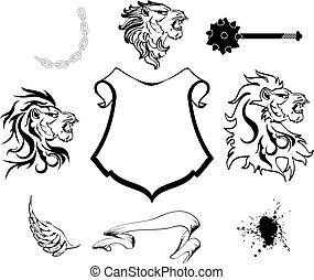 heraldic lion head coat of arms set