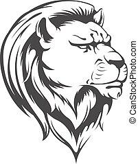 Heraldic Lion Head Vector Silhouett