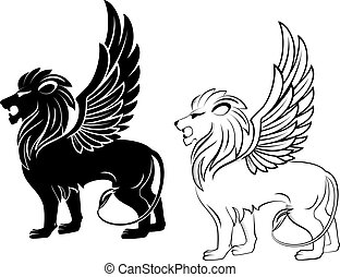 Heraldic lion - Isolated lion with wings for heraldry design