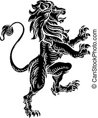 Heraldic Lion Standing Rampant On Hind Legs - A lion...