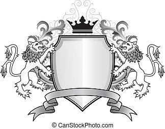 Heraldic lion with shield