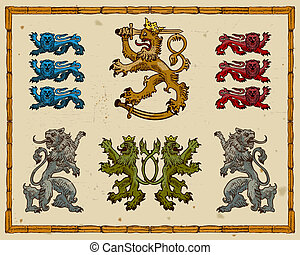 Heraldic lions isolated on light background
