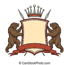 Heraldic logo element. Bears with shield and ribbon