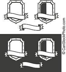 heraldic medieval shield with ribbon