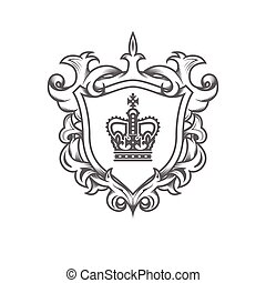 Heraldic monarch blazon, imperial coat of arms with shield and ornate pattern, royal ancestral crest, vector