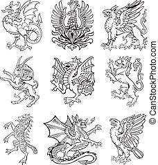 Heraldic monster vol II - Vectorial pictograms of most...