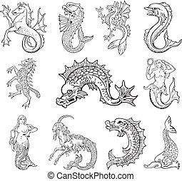 Vectorial pictograms of most heraldic sea monsters, executed in style of gravure on wood. No dlends, gradients and strokes.