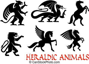 Heraldic mythical animals emblems