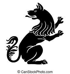 Heraldic pet dog or wolf animal rampant standing on legs...