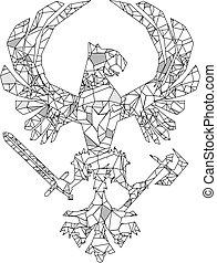heraldic polygonal eagle tattoo emblem
