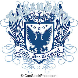 heraldic, real, pássaro, emblema