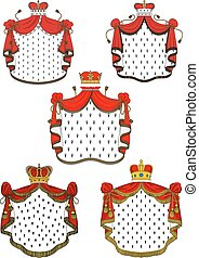 Heraldic red royal mantles set with silk, crowns and golden...
