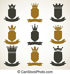 Heraldic royal blazon illustrations set, imperial striped decorative coat of arms. Collection of vector shields with king crown and stylish ribbon. Majestic element, best for use in graphic and web design.
