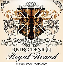 Heraldic Royal design of logotype in antique style with...