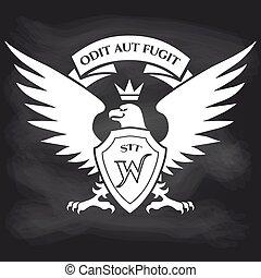 Heraldic royal eagle on blackboard background